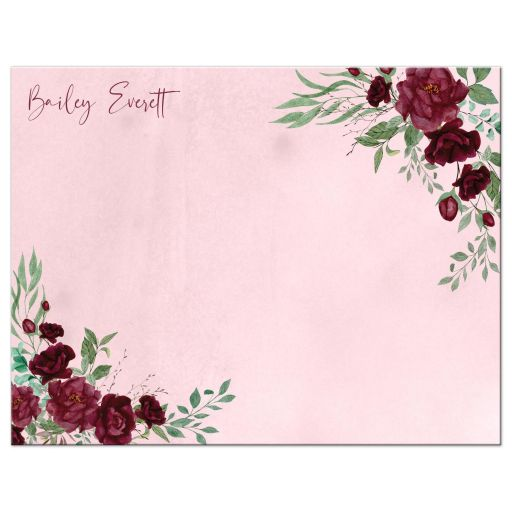 Watercolor Burgundy Roses Personalized Thank You Note Card