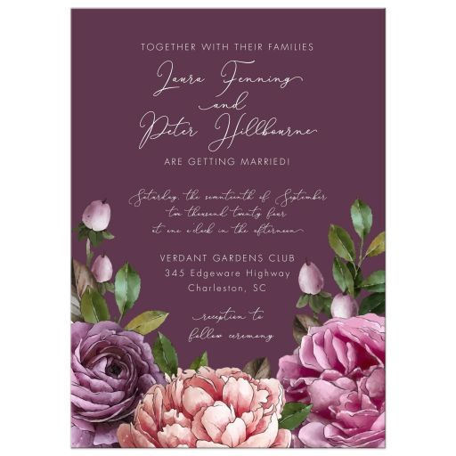 Purple Watercolor Flowers Garden Wedding Invitation