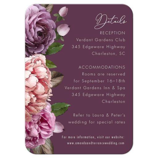 Purple Watercolor Flowers Garden Wedding Reception Insert Card
