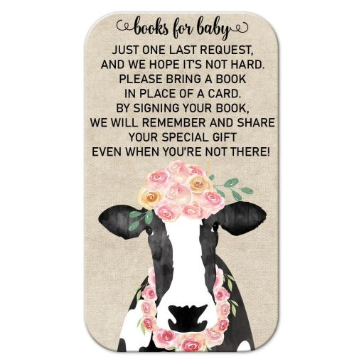 Books for Baby Watercolor Cow Insert for Baby Shower Invitations
