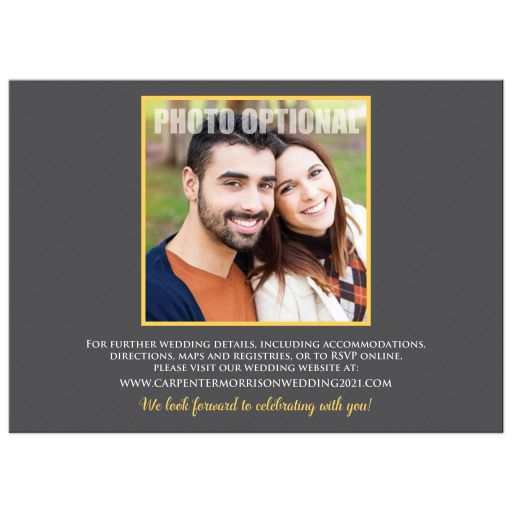 Yellow, grey white watercolor floral wedding invite with optional photo template.