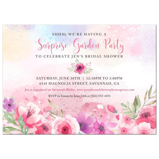 Watercolor Flower Garden Party Bridal Shower Invitation