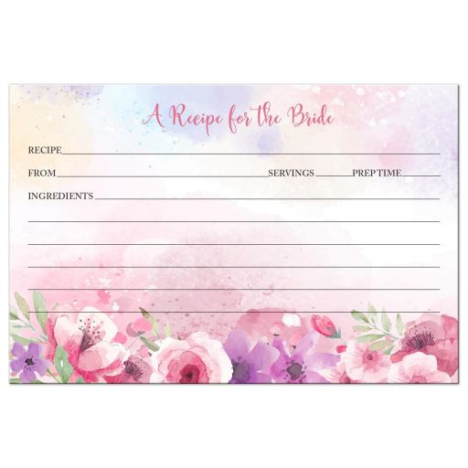 Watercolor Flower Garden Party Bridal Recipe Card