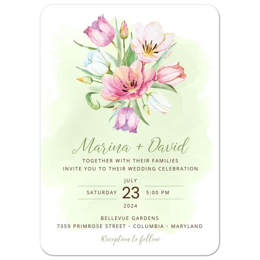 Watercolor Tulip Bouquet Wedding Invitation