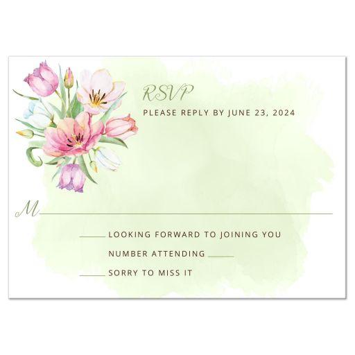Watercolor Tulip Bouquet Wedding Response RSVP Card