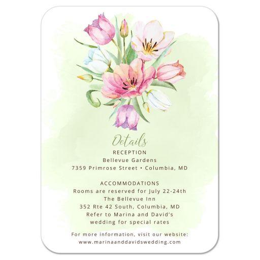 Watercolor Tulip Bouquet Wedding Insert Reception Card