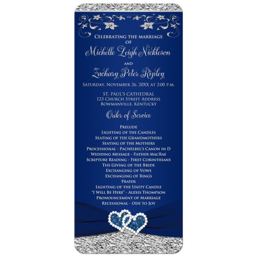 Romantic navy blue and silver grey gray wedding program or order of service with ribbon and joined jeweled glitter hearts buckle brooch and flowers.