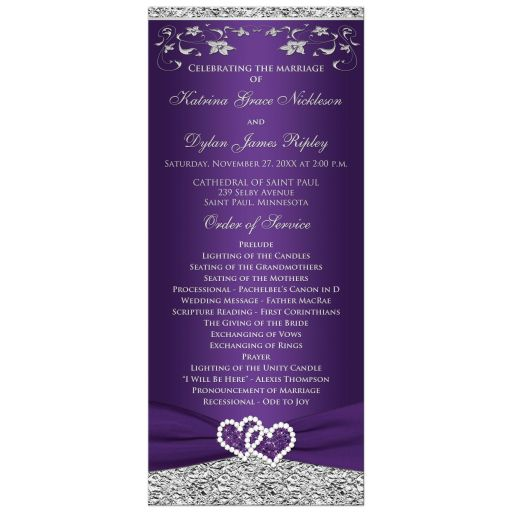 Romantic purple and silver grey gray wedding program or order of service with ribbon and joined jeweled glitter hearts buckle brooch and flowers.