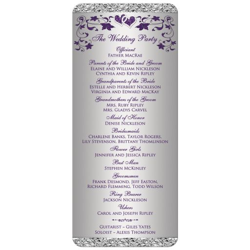 Romantic purple and silver grey gray order of service with ribbon and joined jeweled glitter hearts buckle brooch and flowers.