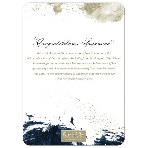 Navy & Gold Abstract Graduation Announcement by The Spotted Olive - Back