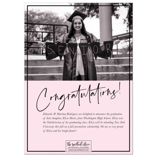 Signature Style Graduation Announcements by The Spotted Olive - Back