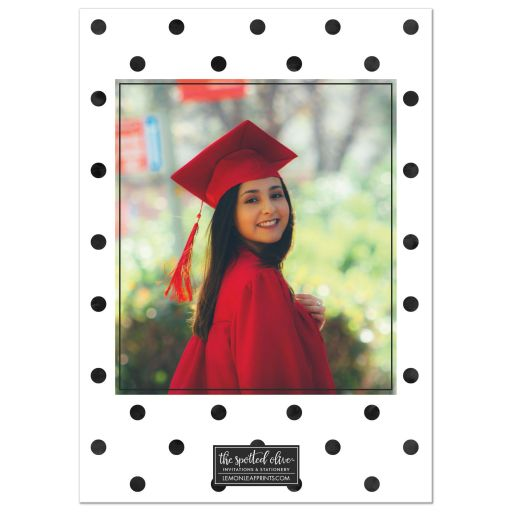 Big Polka Dots Graduation Announcements by The Spotted Olive - Back