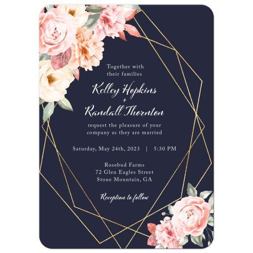 Floral Corners on Navy Geometric Frame Wedding Invitation
