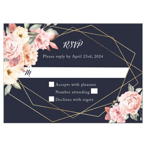 Floral Corners on Navy Geometric Frame Wedding Reply RSVP Card