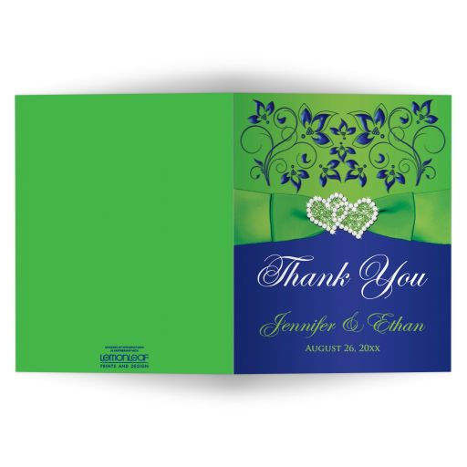 personalized royal blue, lime green and white floral wedding thank you note card with ribbon, bow, jewels, glitter, joined hearts brooch, and scrolls.