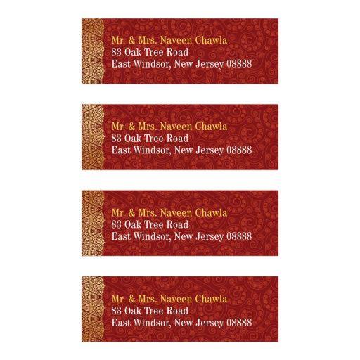 Indian Wedding Address Labels - Crimson Paisley Gold Gilded Edge