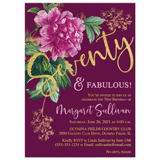 Seventy & Fabulous pink and purple peony flower 70th birthday invitation with gold foil and plum purple background.