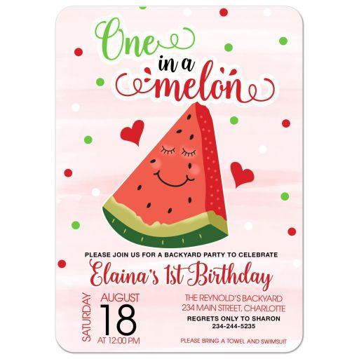 One in a Melon Summer Watermelon Birthday Invitation First 1st Birthday