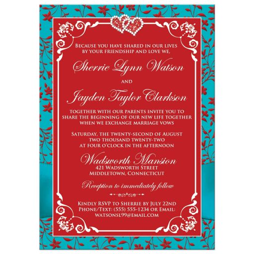 Red and turquoise blue floral photo wedding invitation with joined jewel hearts, ribbon, bow and photo template.