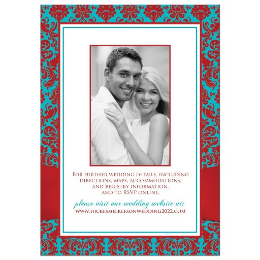 Red, turquoise blue, white damask pattern photo template wedding invitation with red ribbon, teal blue glitter and a jeweled joined hearts brooch on it.