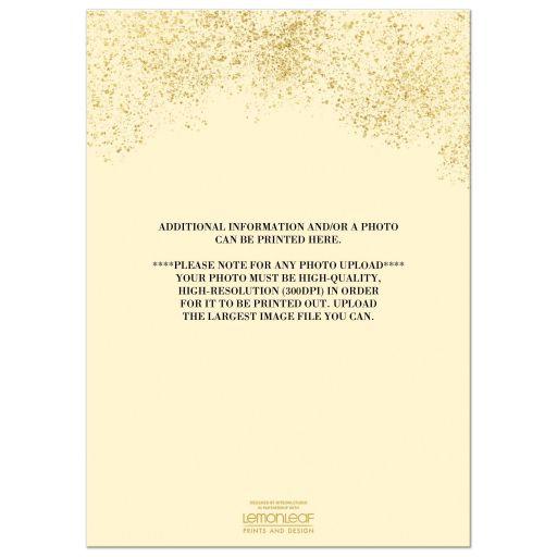 Black, gold, and cream We Still Do 50th wedding anniversary invite with gold confetti and gold dust.