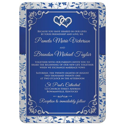 Royal blue, silver grey gray floral wedding invite with joined diamond jeweled and glitter hearts, ribbon, bow, and ornate silver scrollwork.