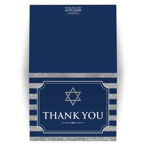 Navy blue and silver striped Bar Mitzvah thank you card with grey gray Jewish Star of David.