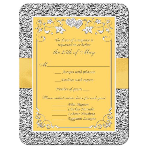 Yellow and silver grey floral wedding response cards with yellow ribbon, bow, joined jewel and glitter joined hearts brooch and ornate scrolls.