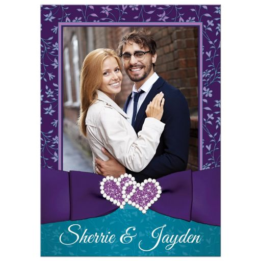 Purple, teal blue, and white floral photo wedding invitation with joined jewel hearts, ribbon, bow and photo template.
