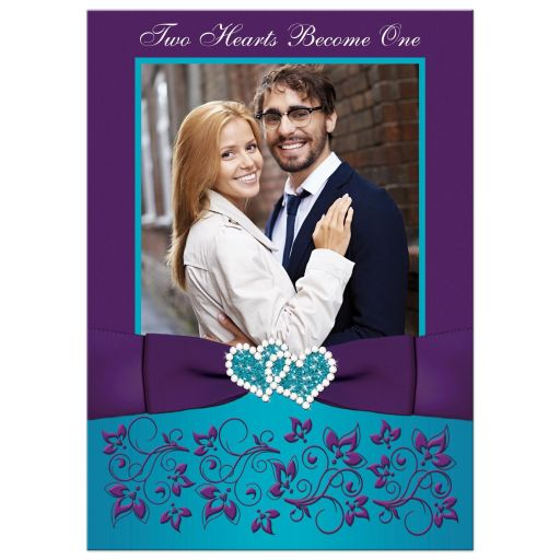 Purple, turquoise, teal blue, and white floral photo wedding invitation with joined jewel hearts, ribbon, bow and photo template.