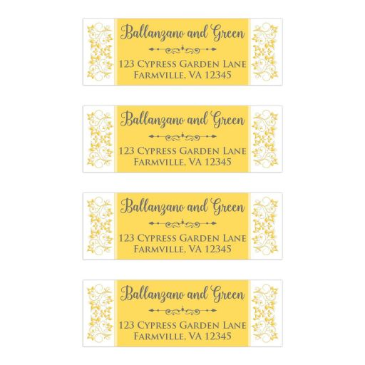 Yellow, grey gray, white floral wedding return address mailing labels with charcoal gray and ornate scroll.