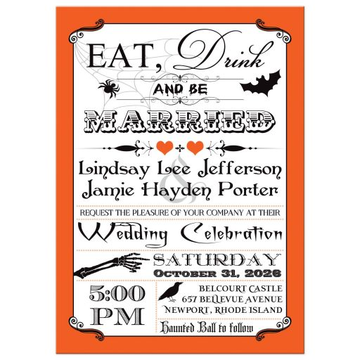 Halloween wedding invitation in orange, black, and white with stripes and Eat, Drink and be Married vintage typography, along with bats, spiders, hearts, and birds.
