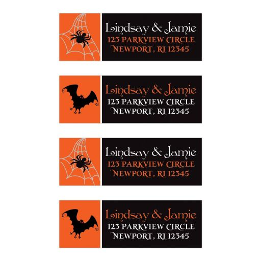 Orange, black, and white Halloween wedding return address mailing labels with flying bats with red glowing eyes and spider webs with spiders.