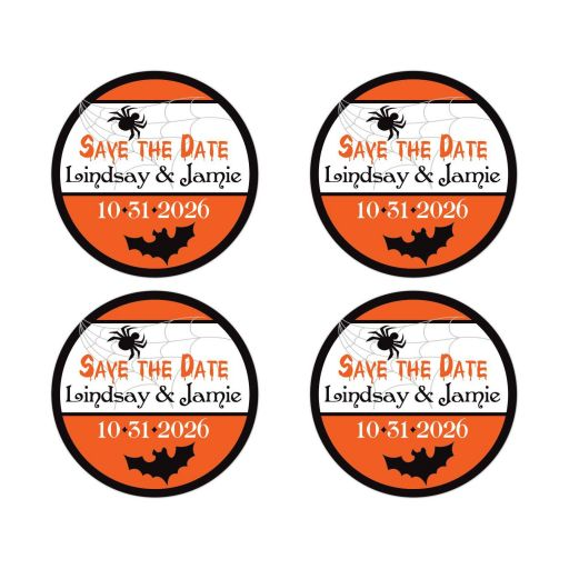 Orange, black, and white Halloween wedding save the date envelope seal or wedding thank you favor stickers with flying bats and spider webs with spiders.
