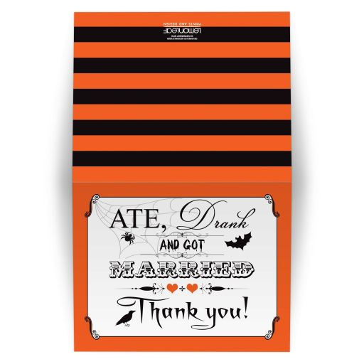 Orange, black, and white vintage poster look Ate, Drank, and Got Married Halloween wedding thank you card with a flying bat, a spider on a spider web, a black crow or raven, ornate scrolls and orange hearts.