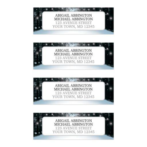 Address Labels - Winter Snowy Road Tree Lights