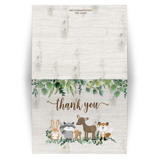 Neutral Woodland Animals Folded Thank you card