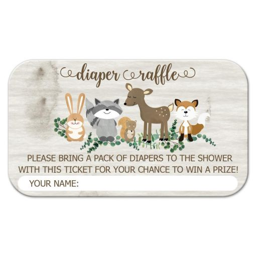 Diaper Raffle Enclosure Card - Woodland Animals Neutral with Greenery