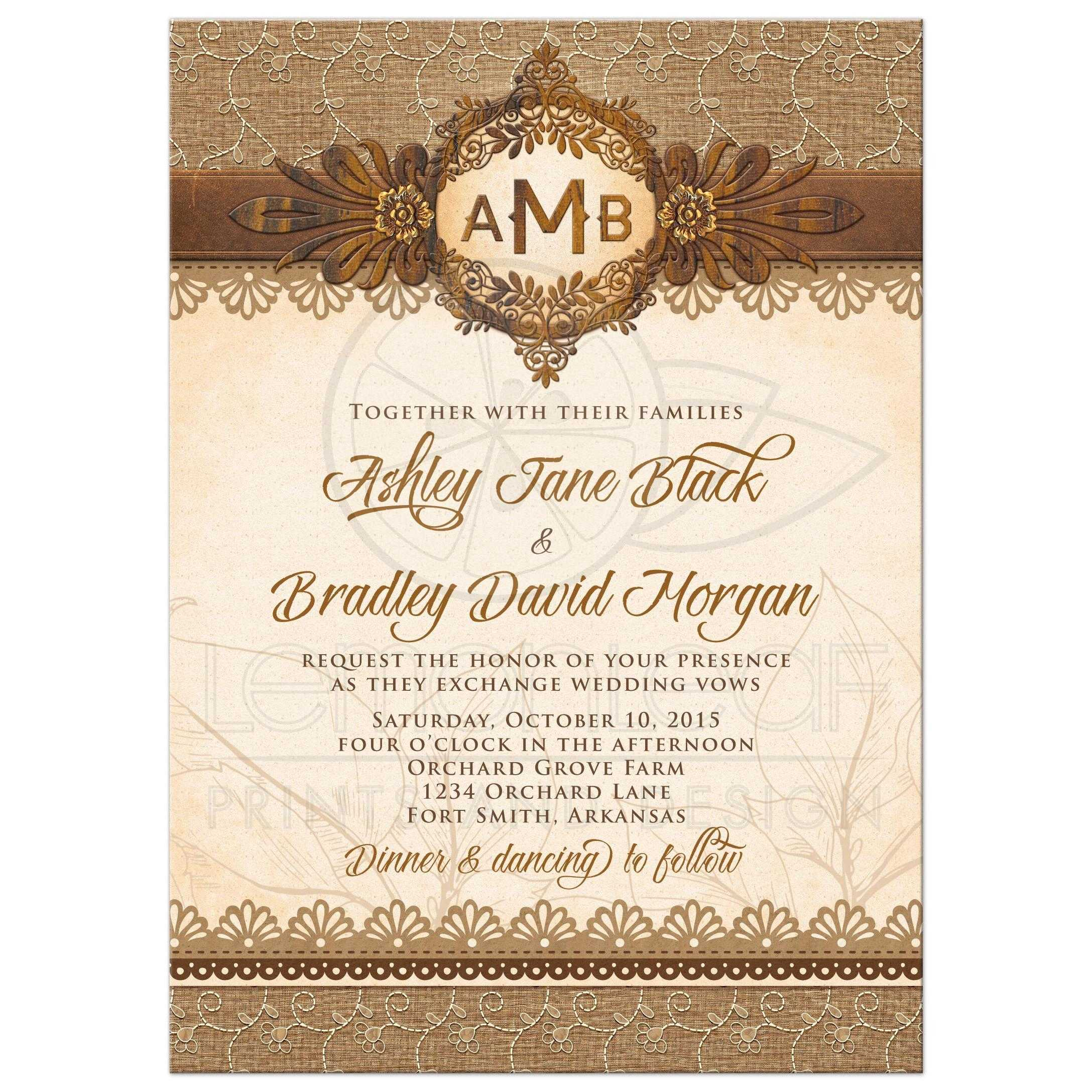 rustic monogram burlap lace wood emblem wedding invitation front - Wood Wedding Invitations