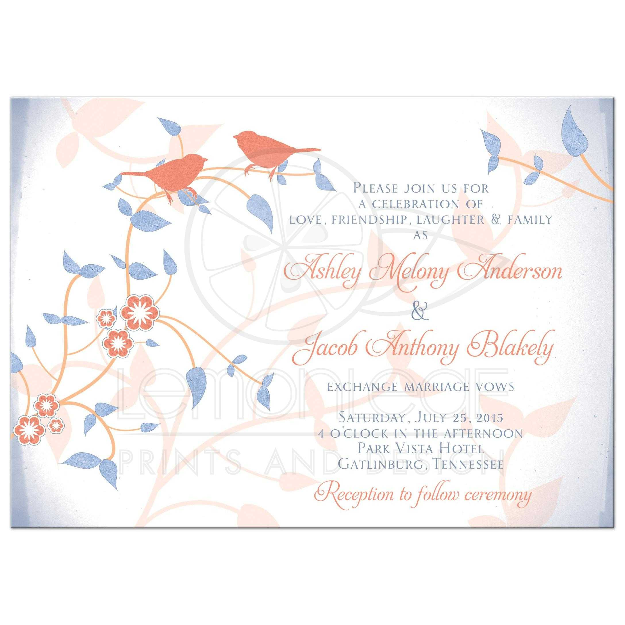 Wedding Invitation C Peach Blue Songbirds Flower Leaves Front