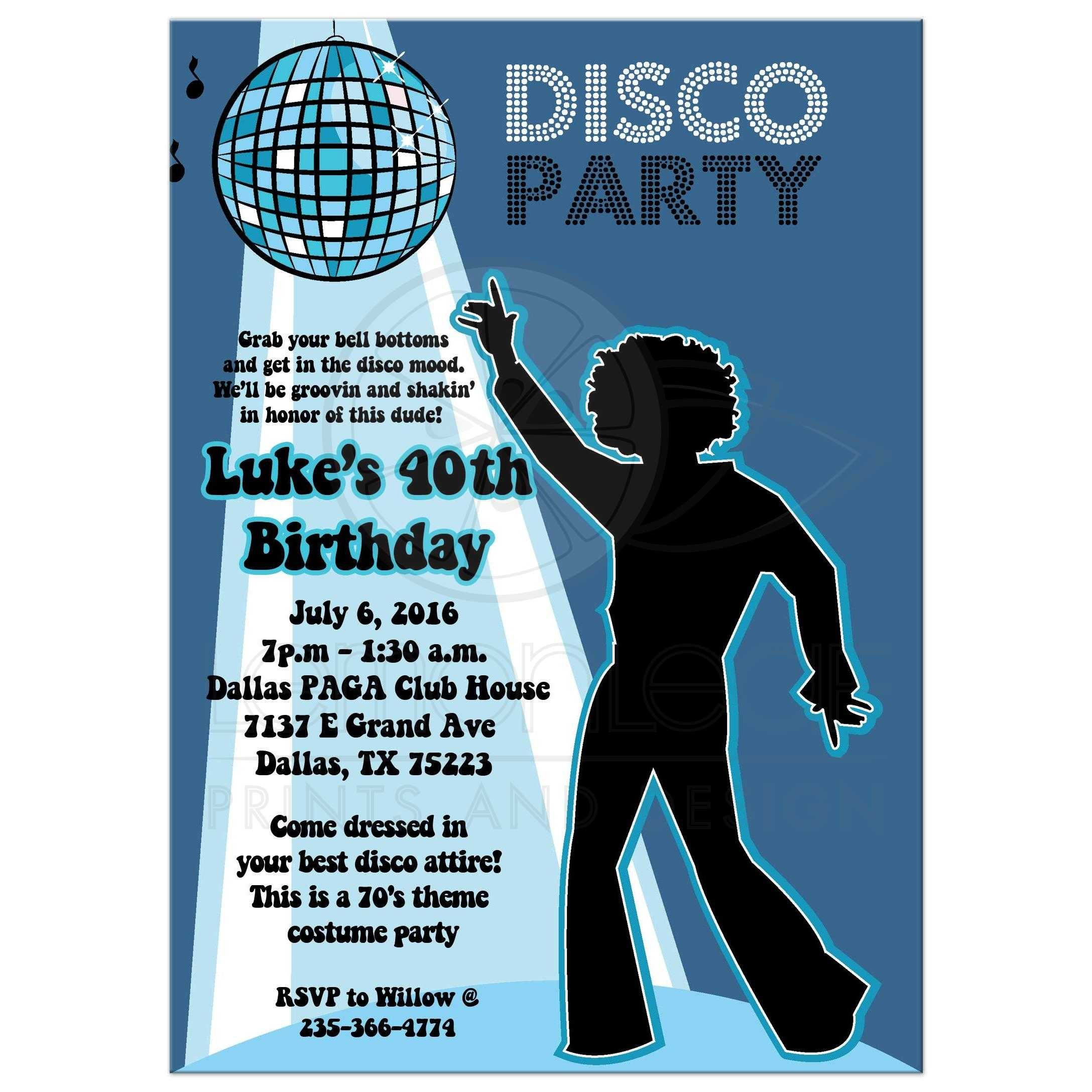 Disco Ball 70\'s Theme Any Age Birthday Party Invitation - Boy