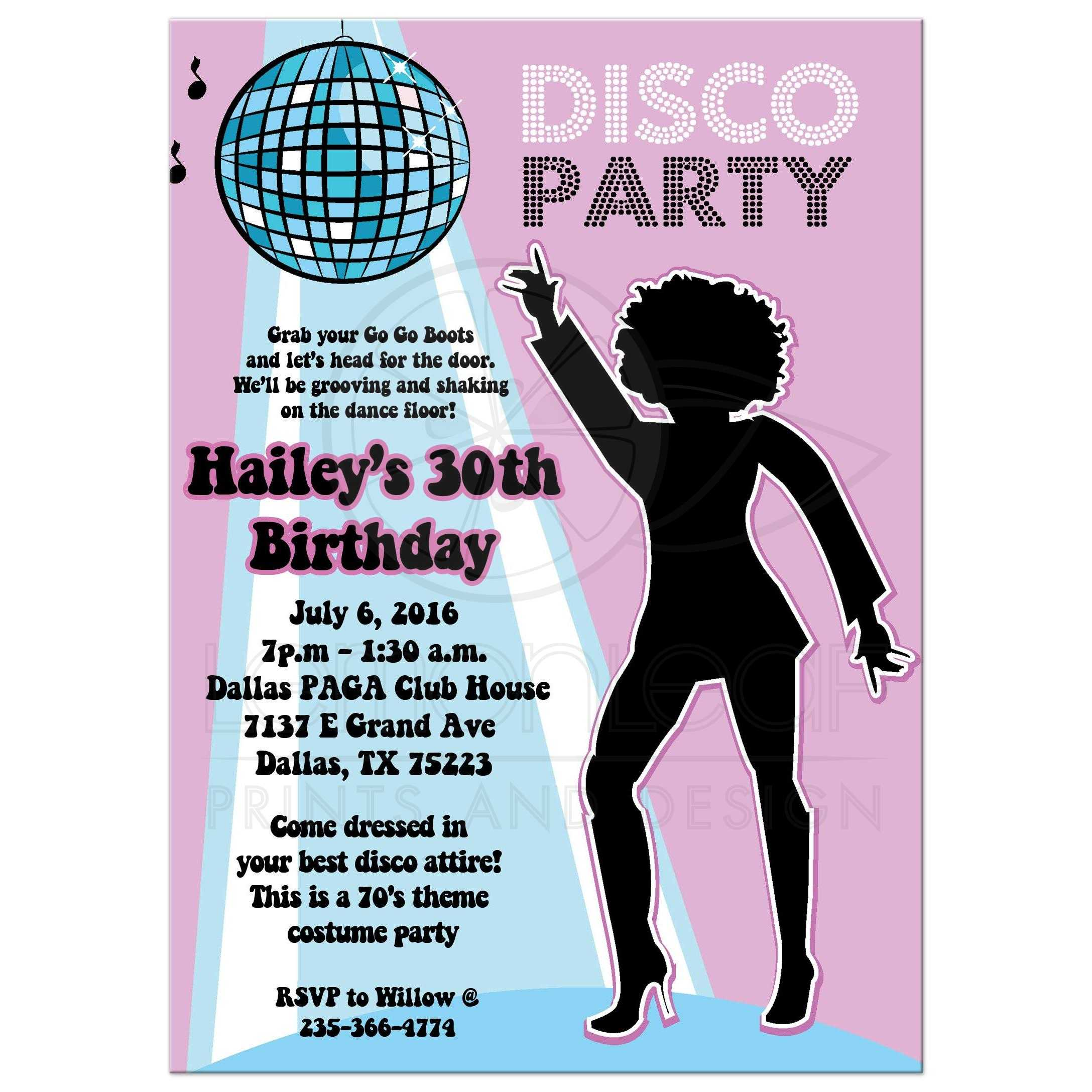Disco Ball 70s Theme Any Age Birthday Party Invitation Girl