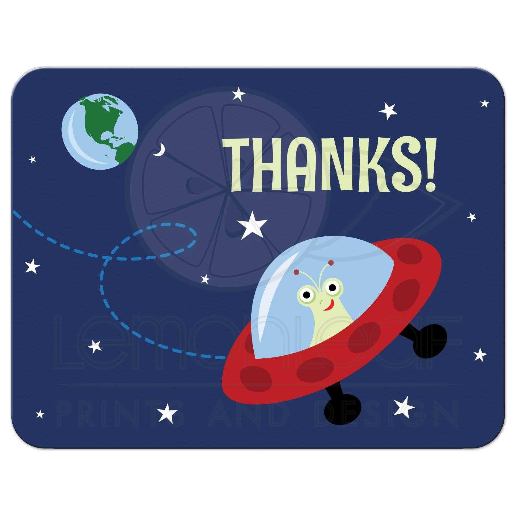 space themed flat birthday party thank you card with cartoon alien