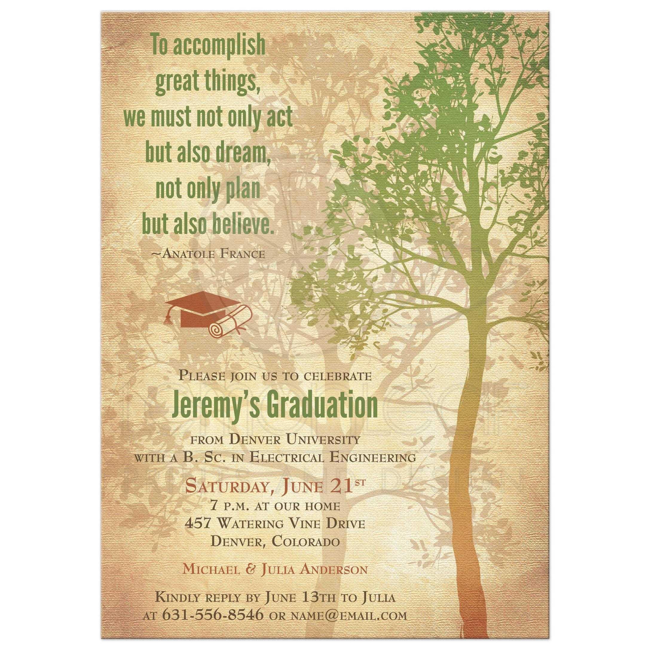 graduation invitation rustic tree quote college university
