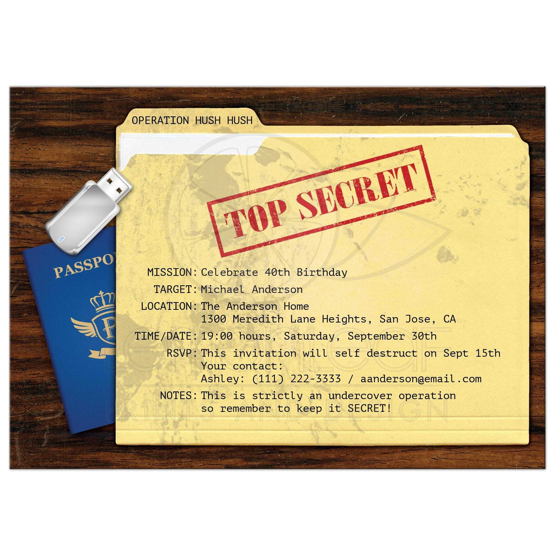 top secret agent spy surprise birthday party invitation