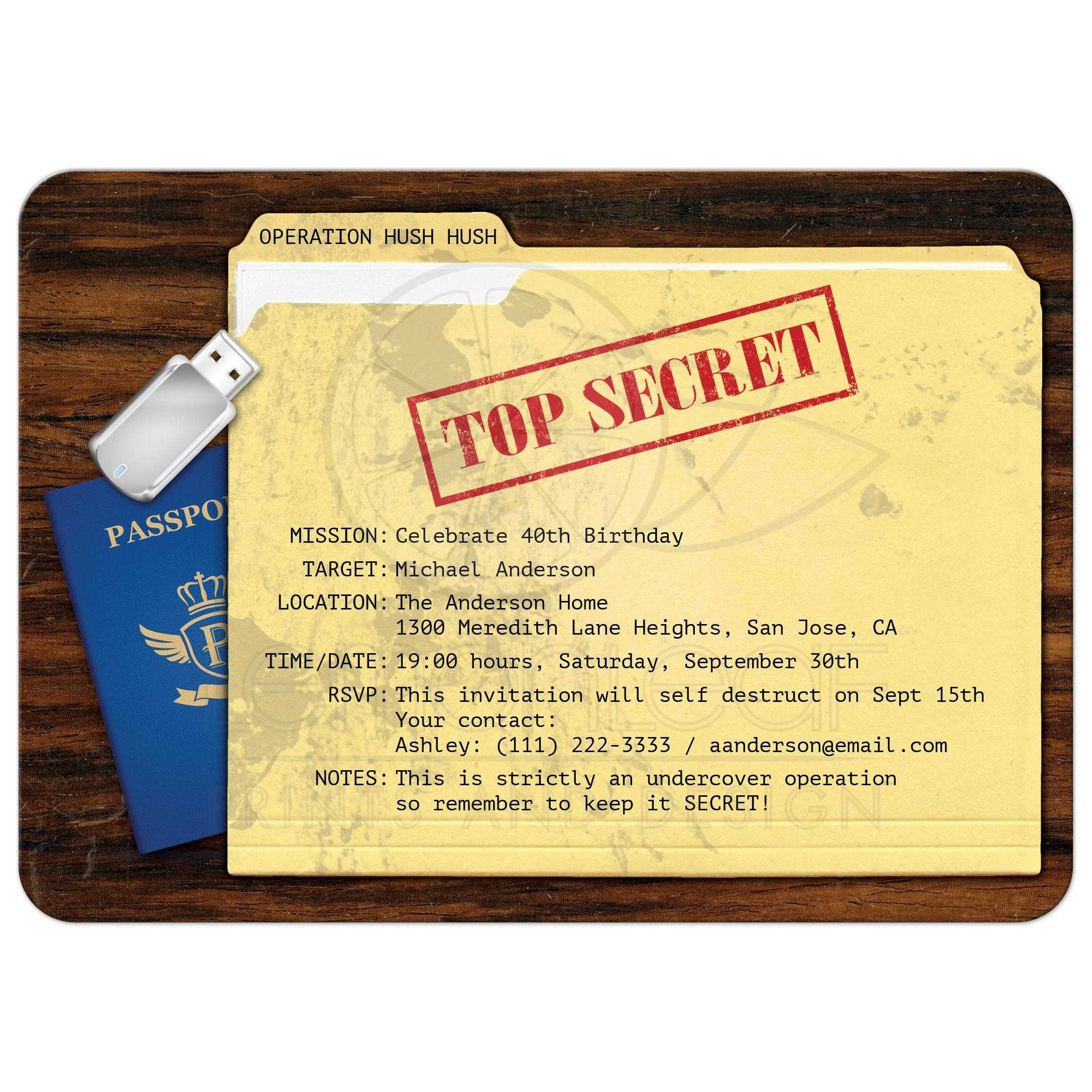 Top secret agent surprise birthday party invitation top secret agent spy surprise birthday party invitation filmwisefo