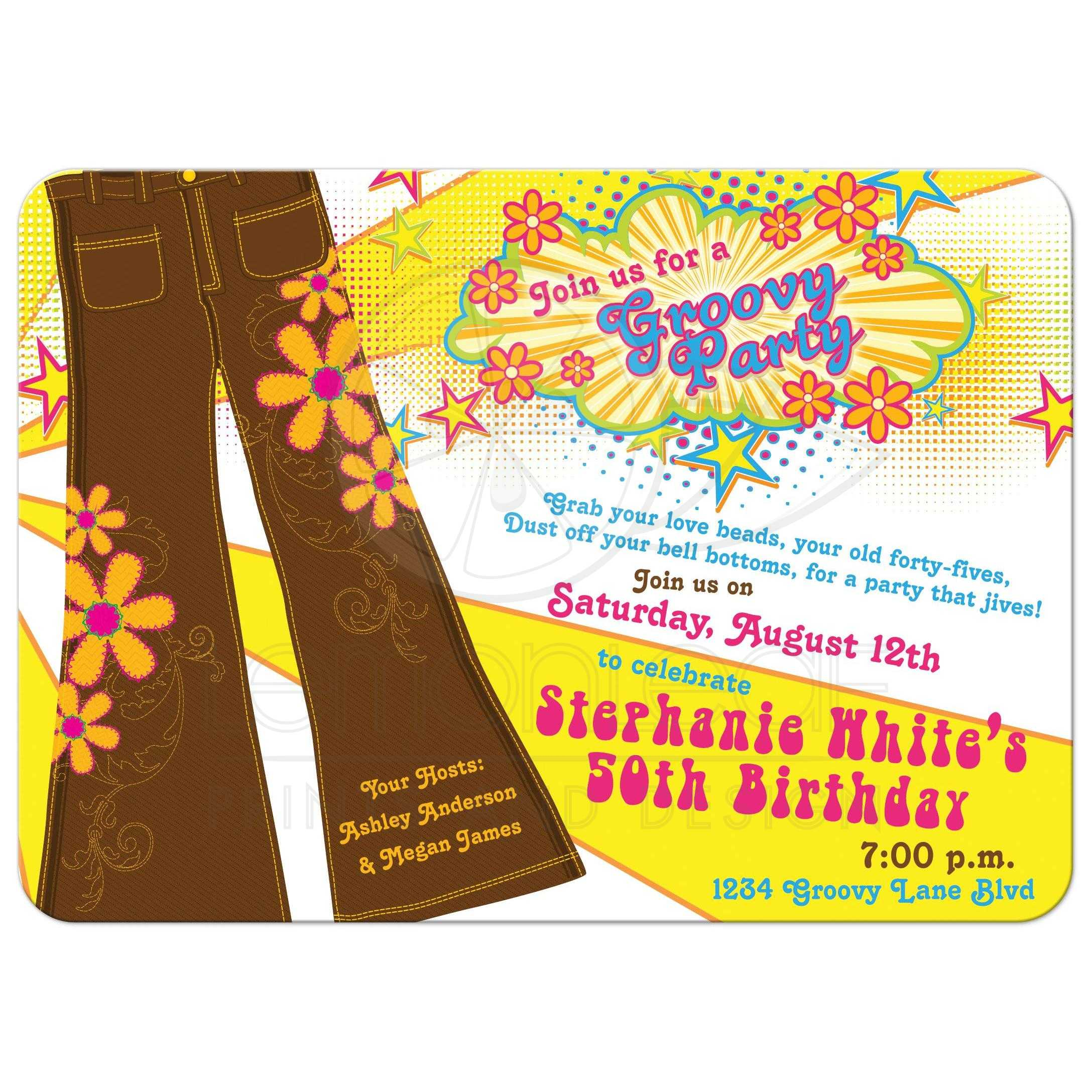 50th Birthday Invitation 70s Disco Bell Bottoms