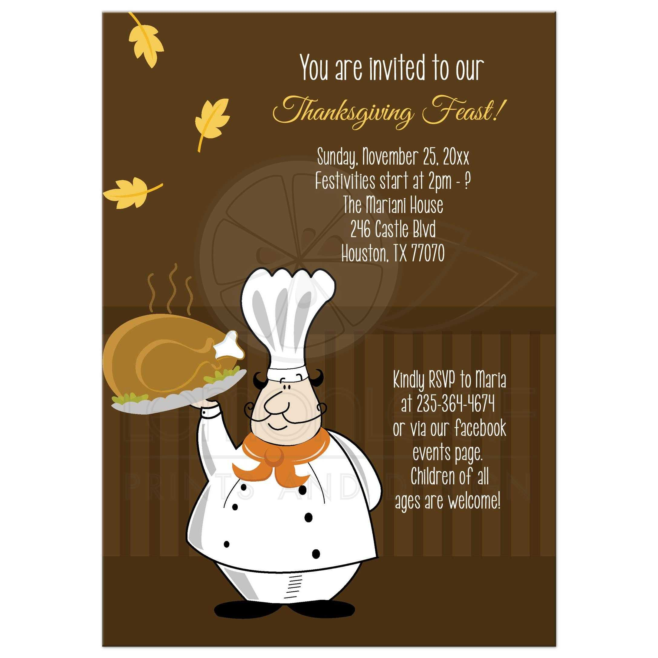 Thanksgiving Chef Customized Dinner Party Invitation