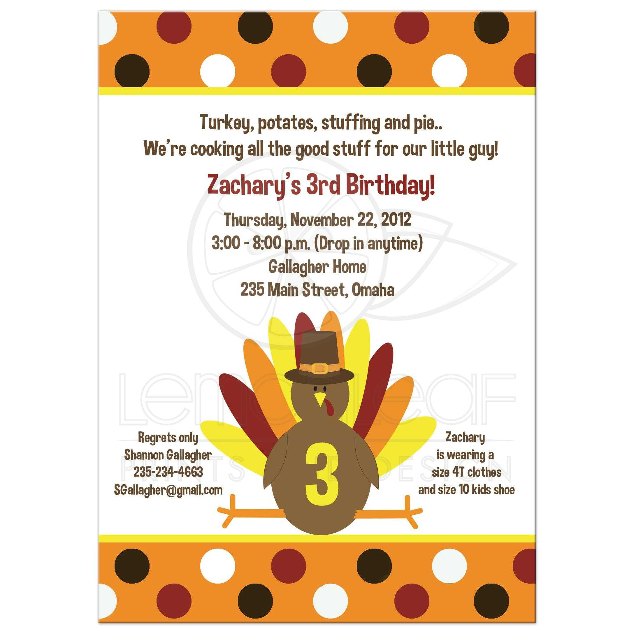 Thanksgiving Day Turkey Birthday Invitation