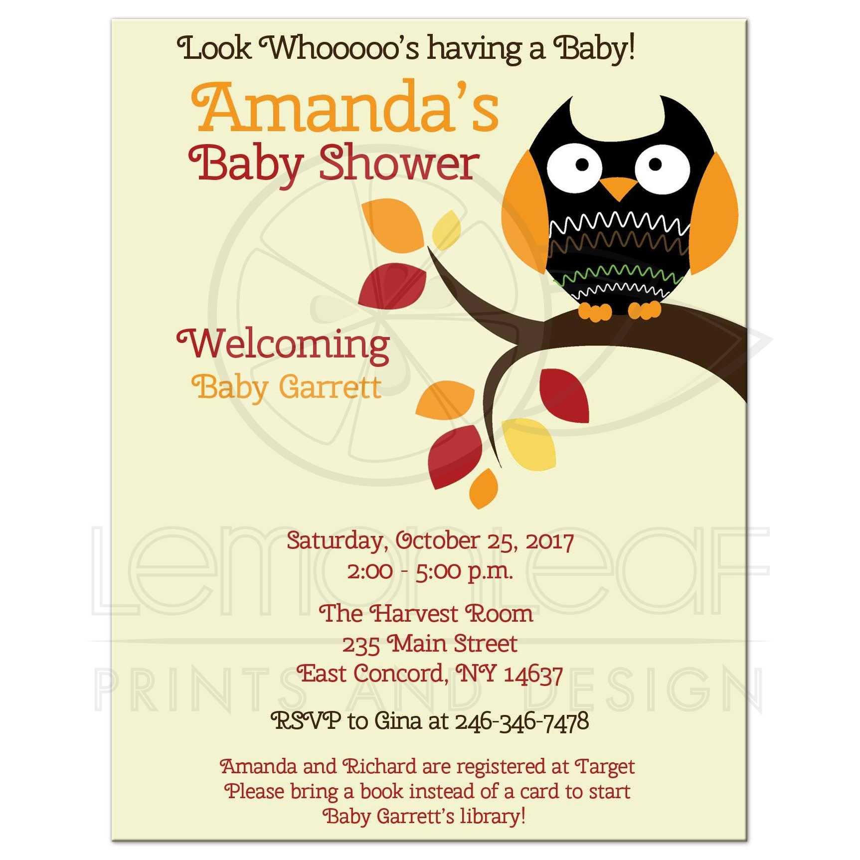 Autumn Owl Halloween Gender Neutral Baby Shower Invitation